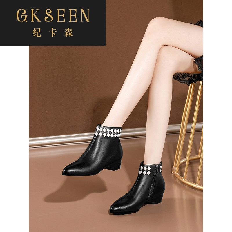 Gkseen flat heeled short boots womens pointed little boots new soft bottom casual spring and autumn single boots medium heel Martin boots rf0924