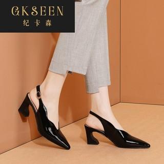 GKSEEN包头凉鞋女黑色真皮高跟鞋时尚旗袍鞋子粗跟四季女鞋RF0602