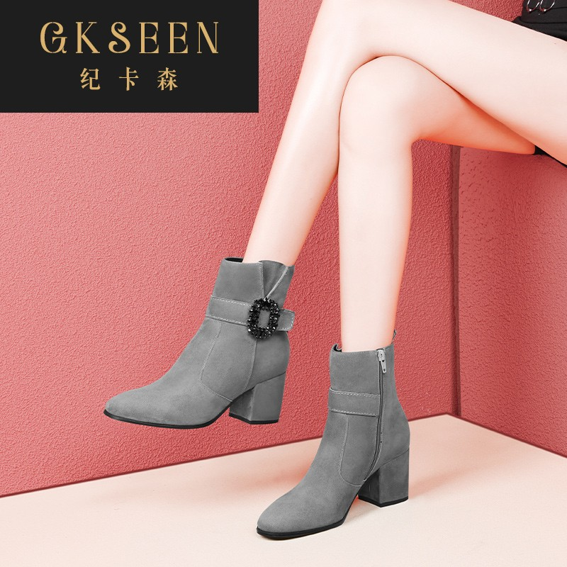 Gkseen thick heel short boots womens autumn and winter new pointed high heeled shoes Korean Martin boots Plush womens boots rf0924