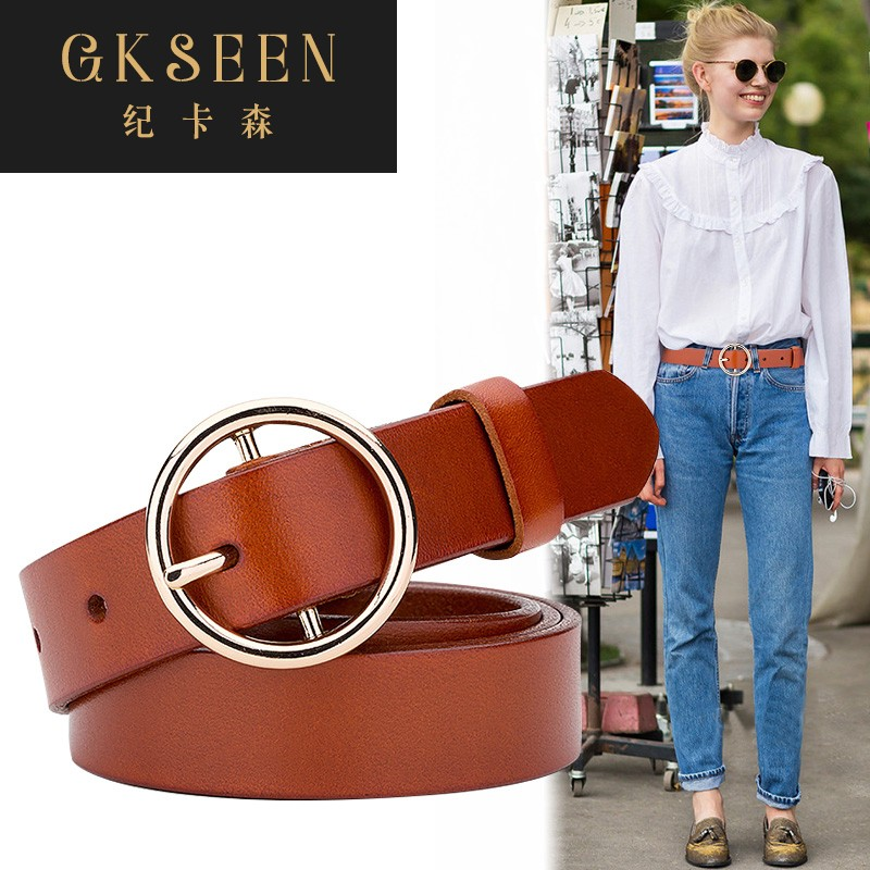 Gkseen spring and summer cowhide round buckle belt women decorative half length dress casual jeans belt rf0702