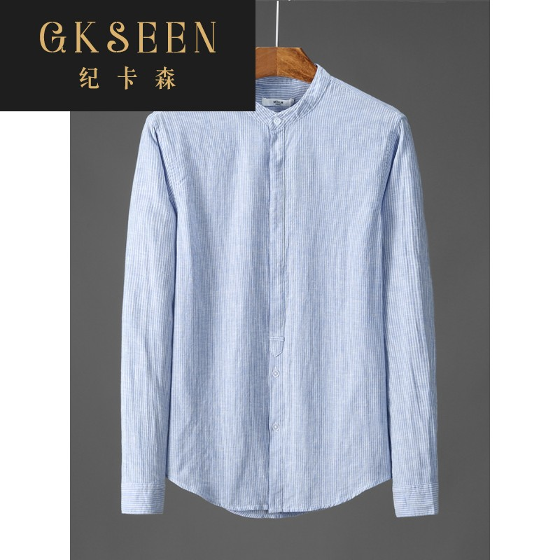 Gkseen design stand collar linen long sleeve boys shirt casual comfort round neck linen cotton linen shirt xj0813