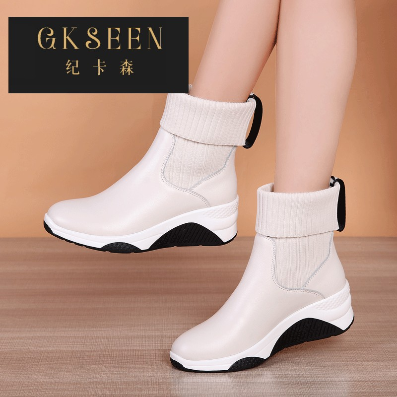 Gkseen white elastic sports socks shoes short boots with sloping heel and soft sole, comfortable medium heel woolen mouth cotton boots rf0903