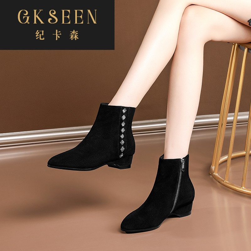 Gkseen pointed reverse plush short boots womens low heel water diamond small boots spring and autumn single boots large slope heel and ankle boots rf0924