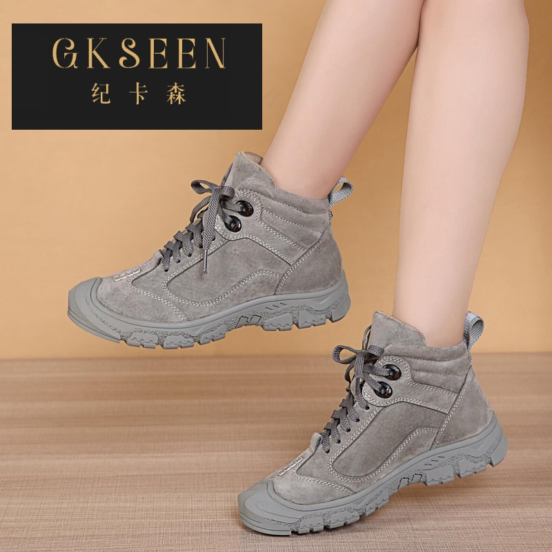 Gkseen Martin boots womens spring and autumn single boots anti slip soft bottom slope heel short boots outdoor casual lace up barefoot boots rf0903