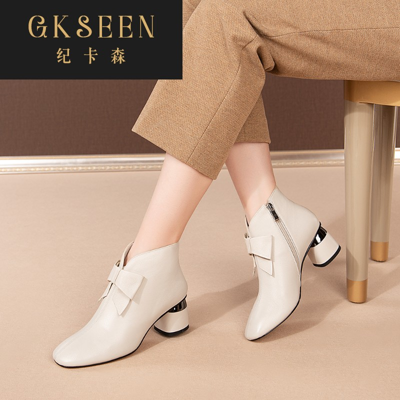Gkseen bow Beige short boots square boots early autumn fashion side zipper Martin boots female rf0913