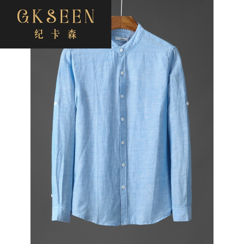 Gkseen cotton linen mens Long Sleeve Shirt Youth round neck breathable linen half sleeve shirt top xj0813
