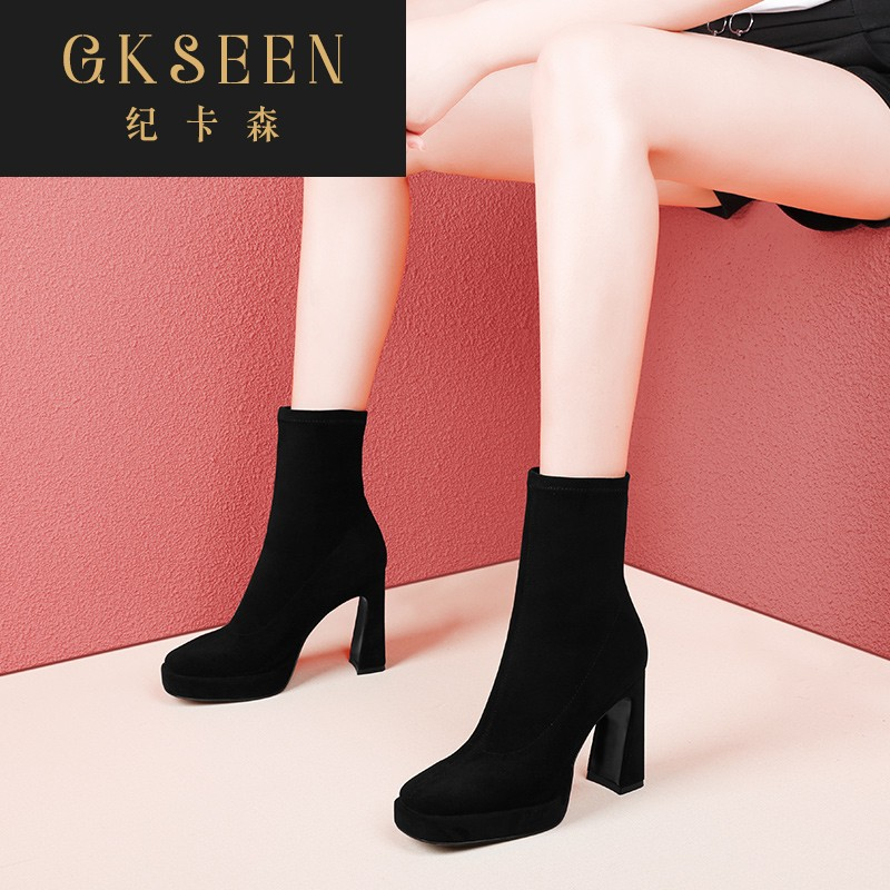 Gkseen high-heeled elastic boots womens spring and autumn single boots thick heel medium boots versatile thin boots black short boots rf0924