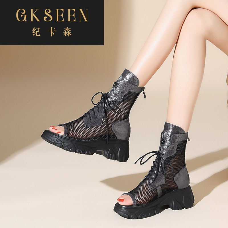 Gkseen summer thin 2020 new thick bottom fish mouth sandals womens slope heel mesh boots breathable boots xj0820