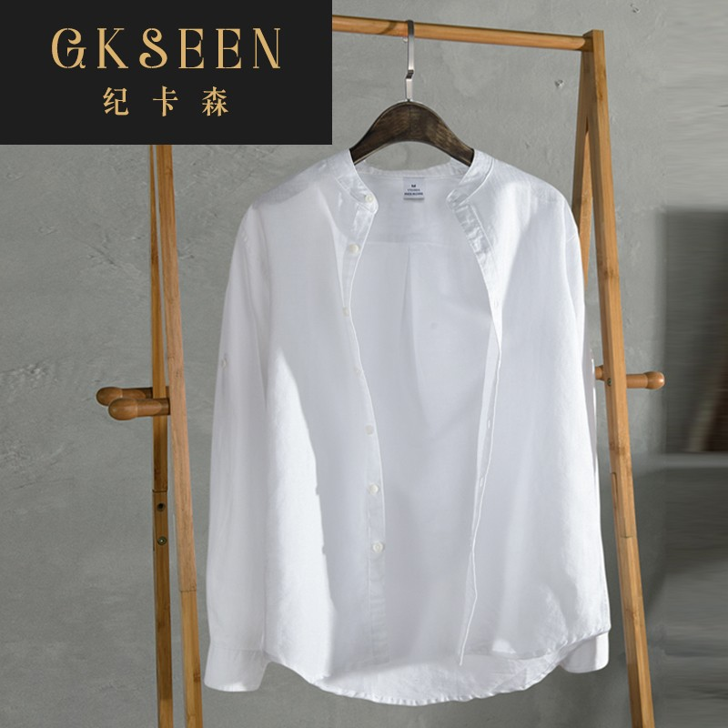 Gkseen long sleeve crew neck Linen Shirt Mens casual and breathable mens slim standing collar white shirt rf0825
