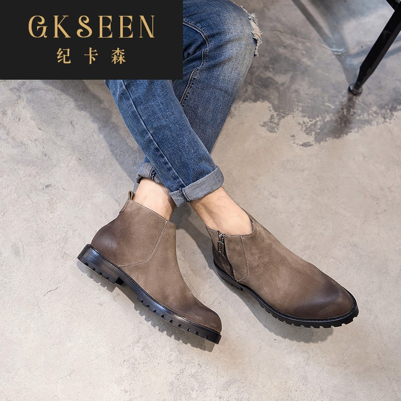 Gkseen Martin boots mens British desert boots pointed plush leather mens short boots Chelsea boots rf0911