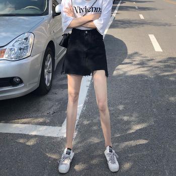 ins高腰不规则泫雅防走光牛仔半身裙女黑色包臀裙韩版显瘦a字短裙