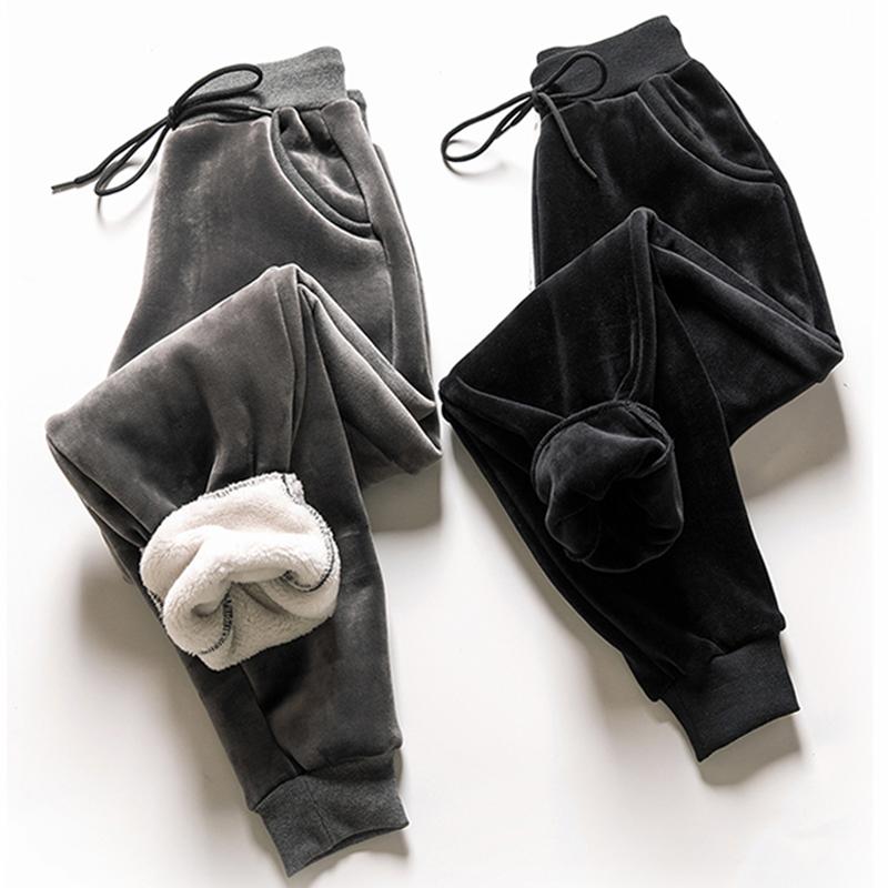 金丝绒加绒裤女冬加厚羊羔绒女裤子休闲束脚运动裤卫裤棉裤女外穿