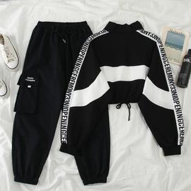 秋新款韩版ins网红高腰显瘦短款卫衣套装女+工装裤休闲运动两件套