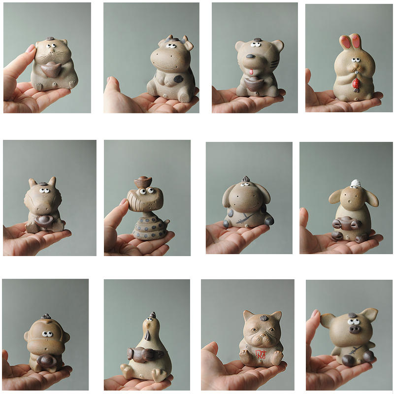 12生肖创意茶宠景德镇手工陶瓷可爱摆件精品动物趣味把玩喷水娃娃