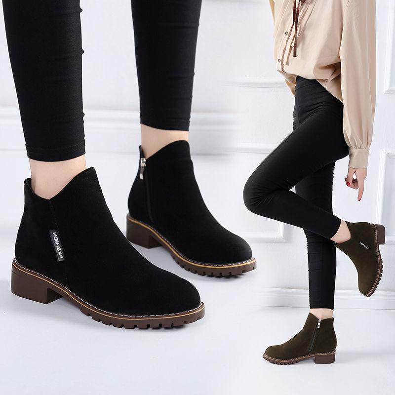 短靴女春季单鞋马丁靴百搭单靴磨砂平底靴子原宿风加特大码41码42