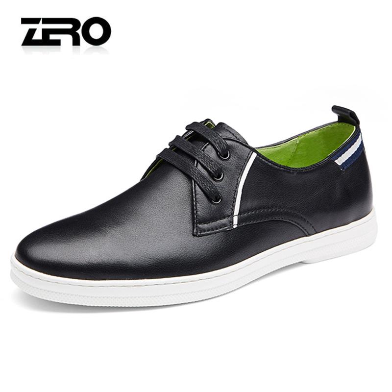 Zero零度休闲皮鞋镂空英伦潮流系带轻便透气男士头层牛皮皮鞋潮鞋