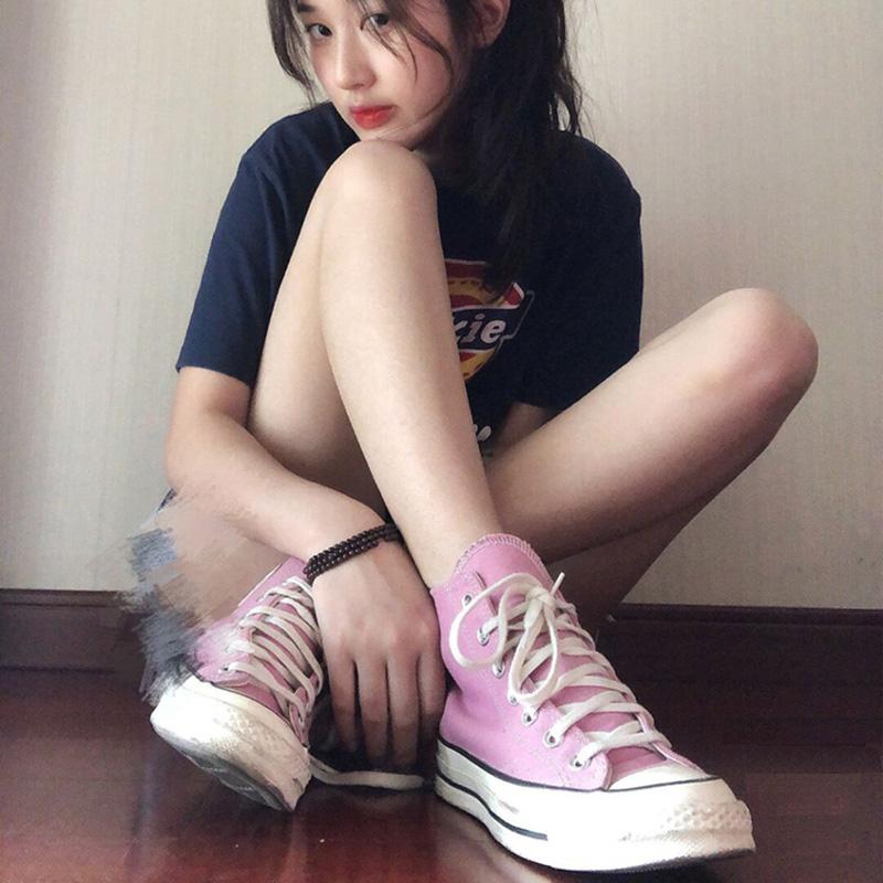 首尔匡威莱斯1970s高低帮丛林绿帆布紫粉色女鞋米白经典款黑男鞋