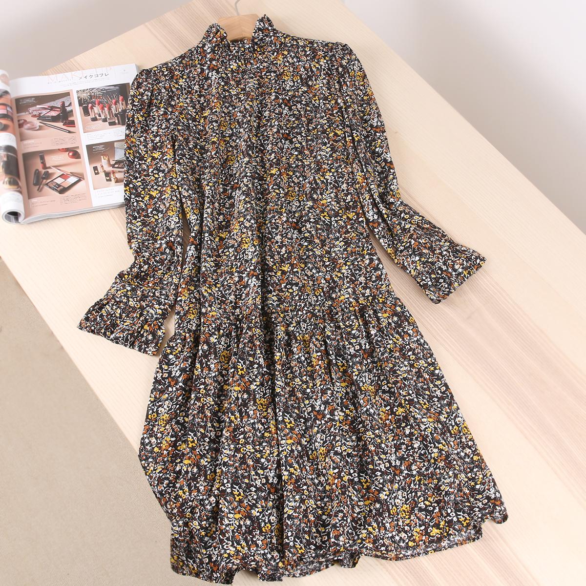 法式惬意茶歇~含金葱线捏褶裙摆碎花宽松木耳领雪纺中长连衣裙女