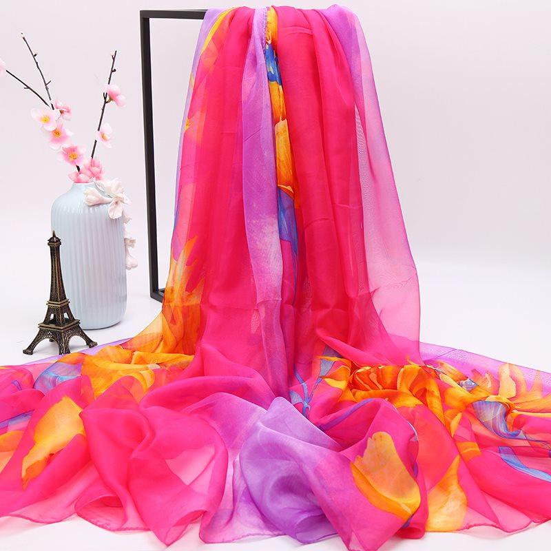 百搭防晒女围巾丝巾春秋冬季超大薄款纱巾长款沙滩杭州两用巾披肩