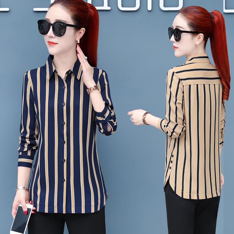 竖条纹衬衫女长袖2020秋季新款韩版宽松显瘦职业衬衣女雪纺打底衫