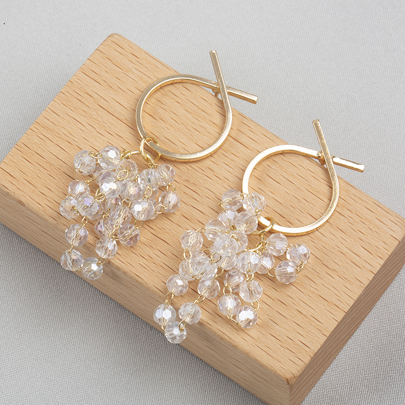 Temperament small face multi-layer crystal grape string Earrings female Korean fashion metal circle earrings earrings earrings earrings