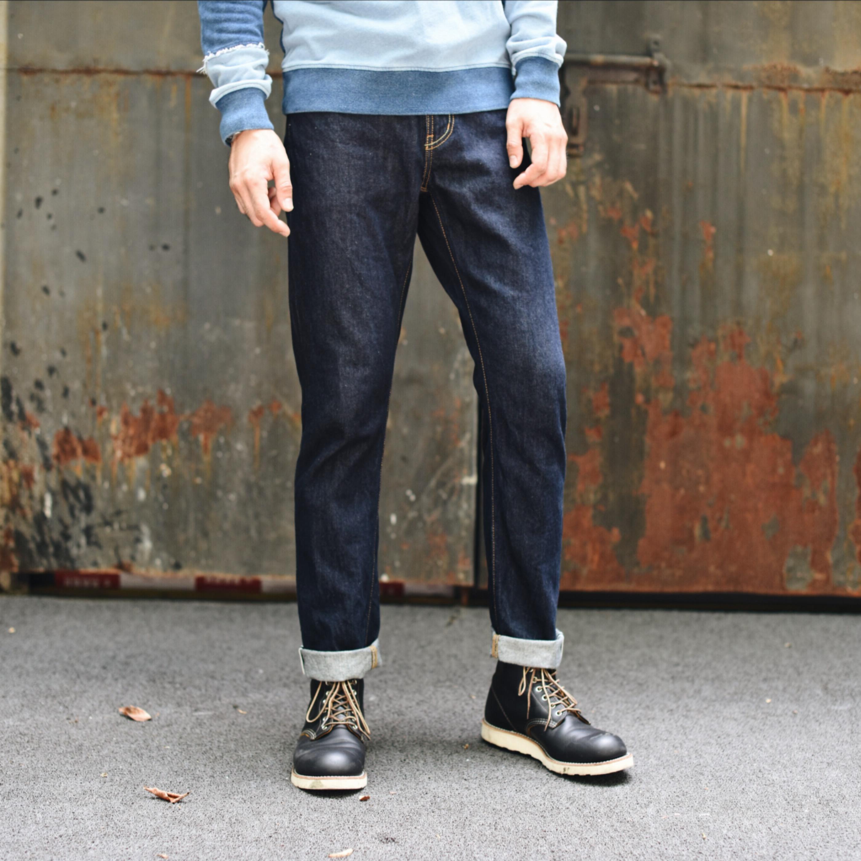 沾酱314XX拉链牛仔裤男士修身长裤 丹宁潮男装小脚原牛 赤耳 丹宁