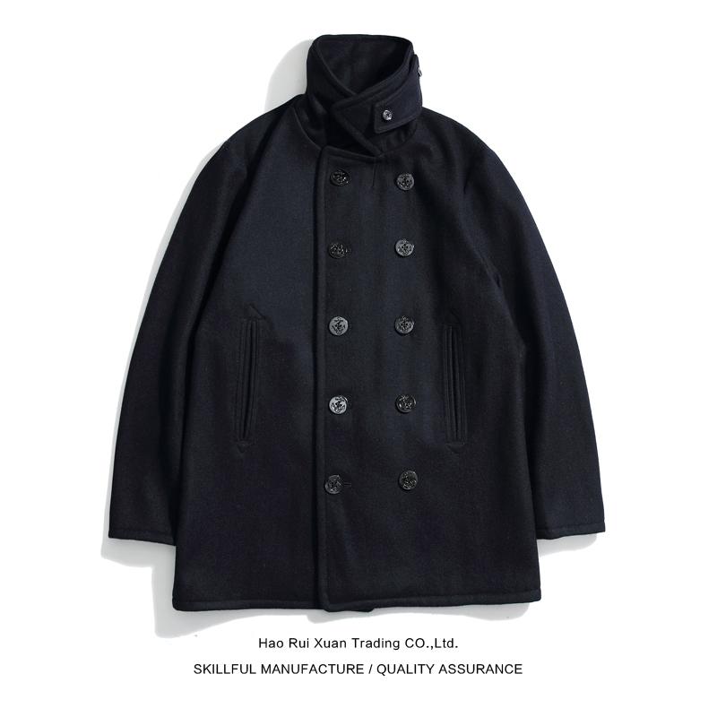 沾酱 pea coat海军大衣 重磅羊毛大衣 工装呢子外套 双排扣 非740