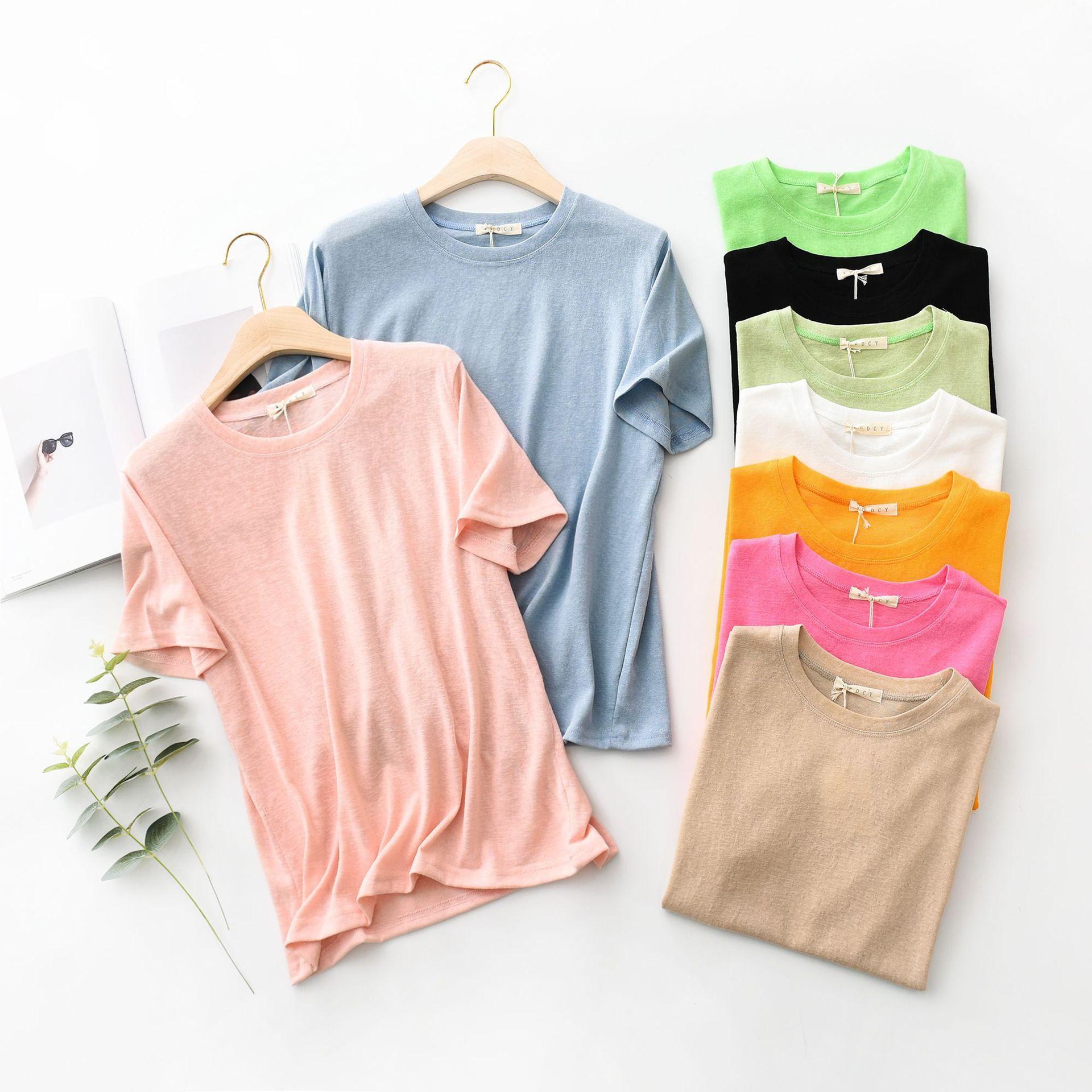 夏季新款圆领短袖T恤雪花亚麻纯色打底衫韩版时尚百搭宽松女上衣