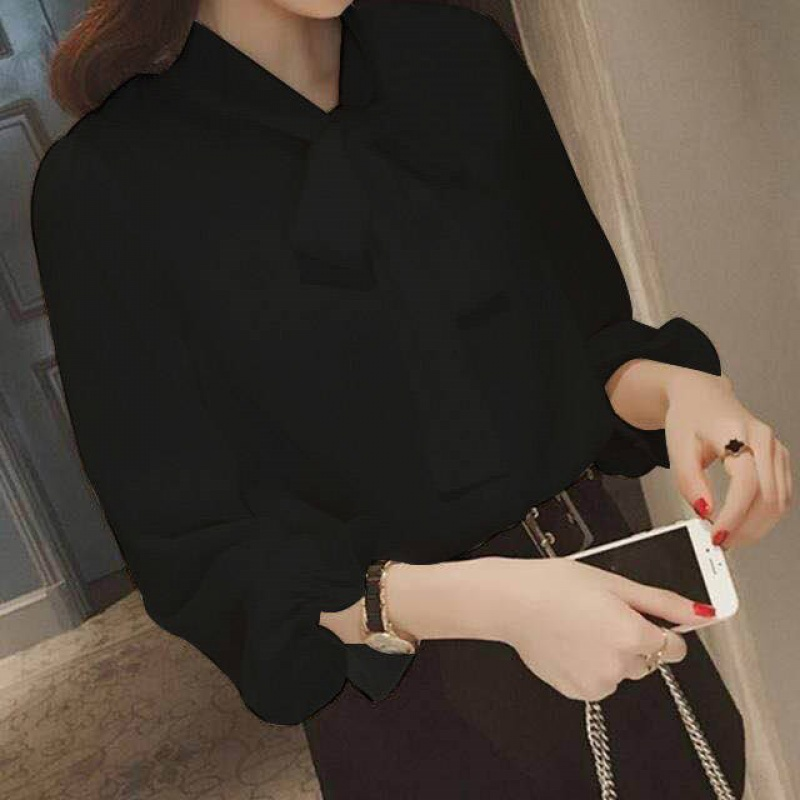 2020 summer new womens chiffon shirt womens long sleeve large loose fat mm shirt bottom inch Shirt Top