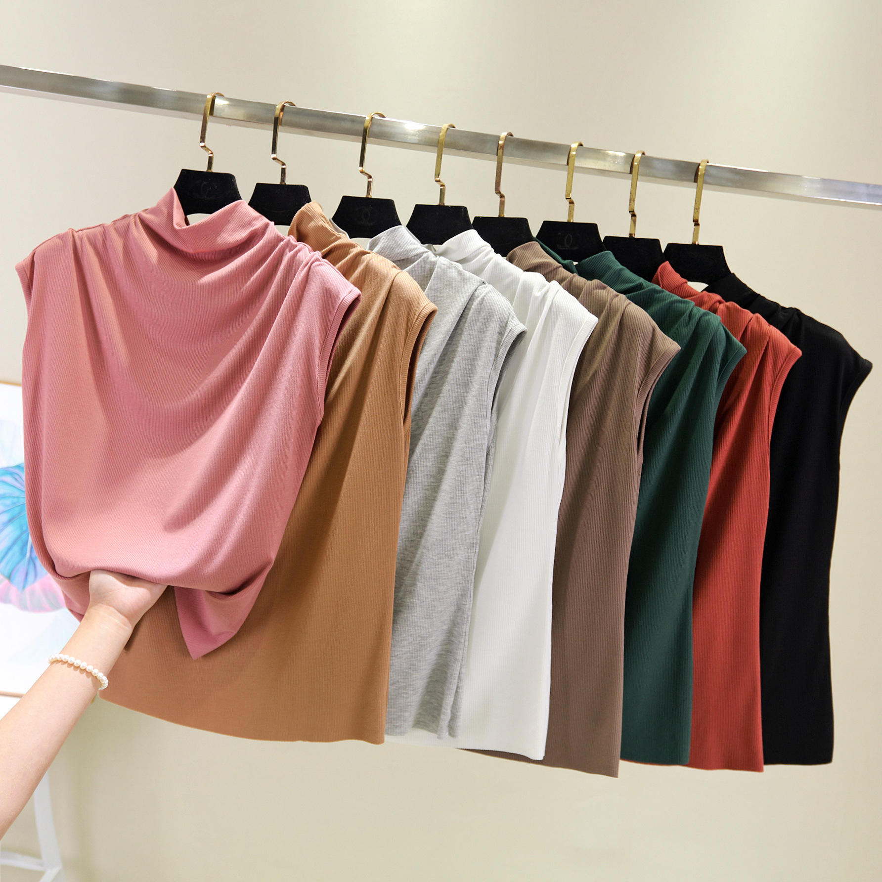 夏季新款螺纹薄款女士高领短袖T恤舒适女士无痕随心裁无袖背心