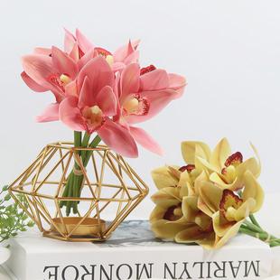 仿真兰花手感小蕙兰花束桌花浴室摆设装 饰花艺会议桌摆花高质假花