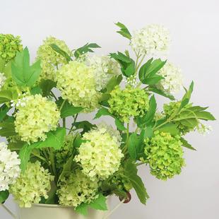 雪球花欧式美式仿真绣球花白色绿色高品质客厅样板间装饰摆设假花