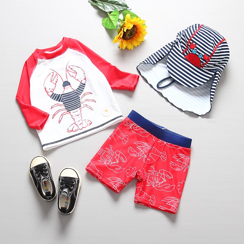 韩国儿童泳衣男童婴儿游泳衣裤长袖分体泳装小童宝宝防晒冲浪服潮
