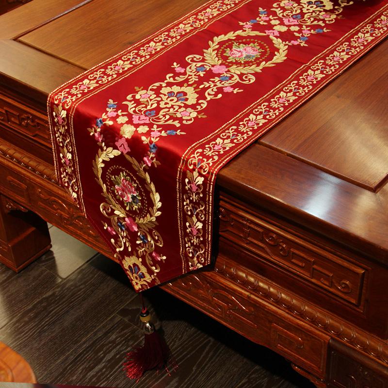 来茵刺绣桌旗中式禅意新中式丝绸红色绣花喜庆结婚中国风格