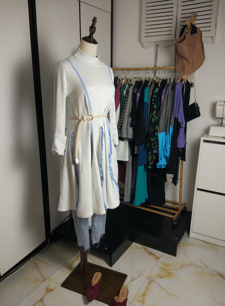 Original new product lotus leaf side auricular side swing skirt slim skirt stitching knitted ground bottom skirt Pleated Dress