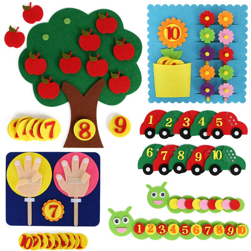 幼稚園の小さい中で大きいクラスの数学の地区の手仕事のデジタルの教具のおもちゃのカードは布の手製の材料の包みを織らないです。