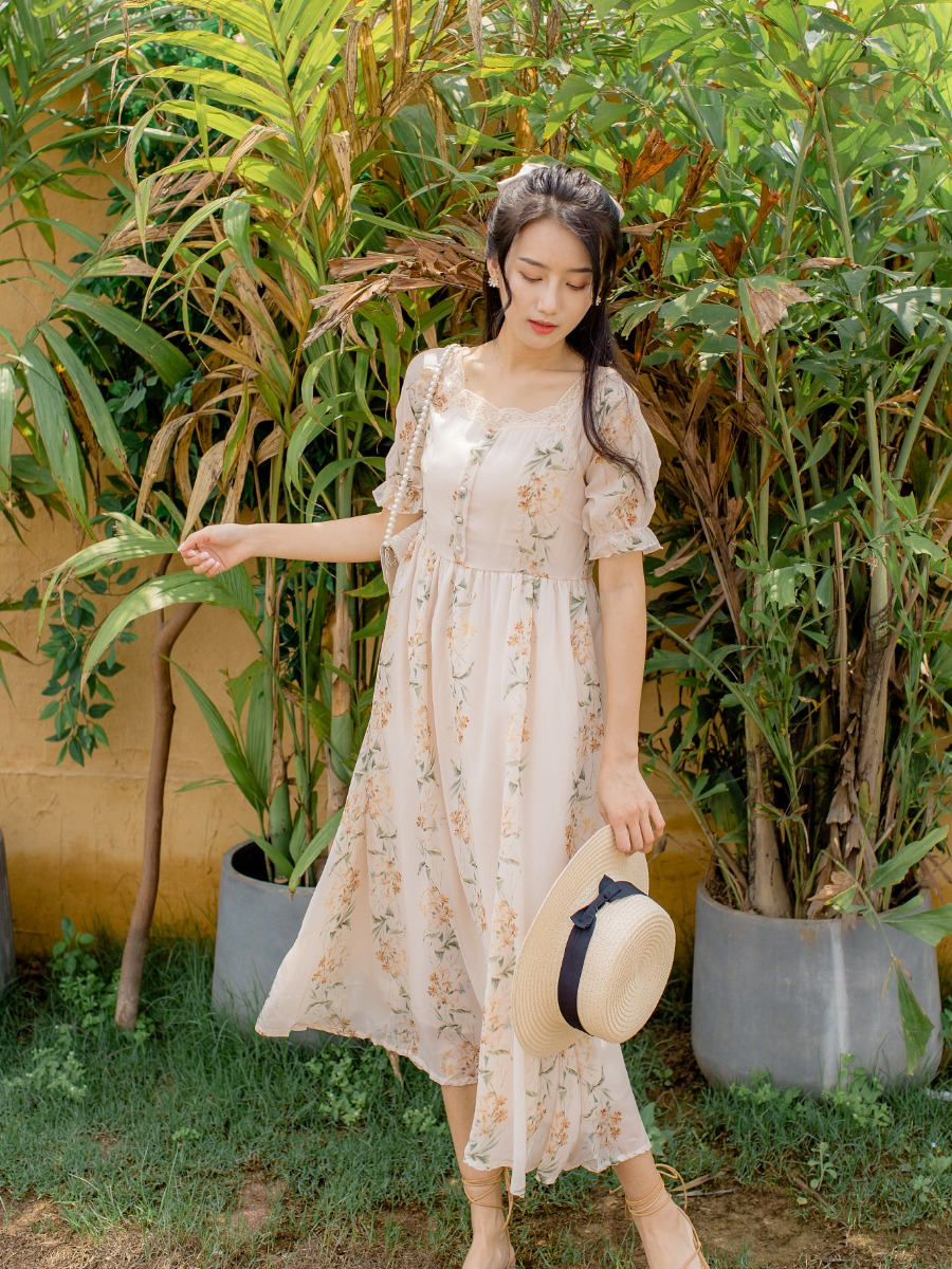 Floral dress womens summer 2020 new love art Printed Dress Small and fresh Chiffon retro French style