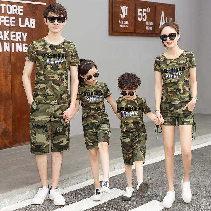 夏季迷彩服套装男女情侣装一家四口亲子装父女父子母女装两件套潮