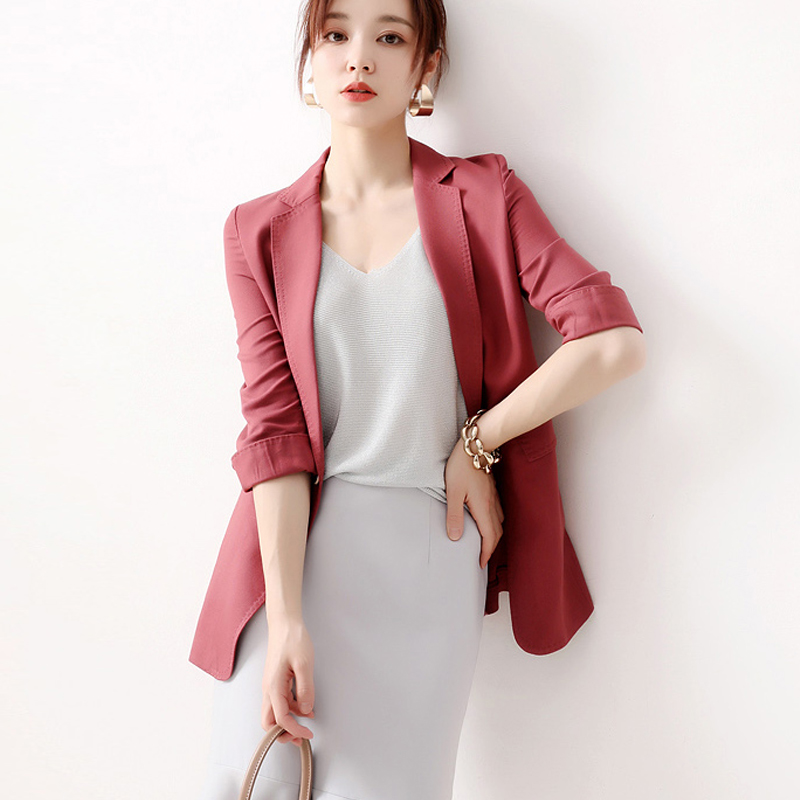 Small suit jacket female design sexy in Spring and summer rose suits, a buckle, a long dress