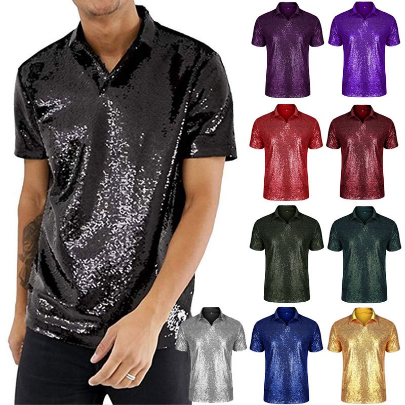 Mens Casual Short Sleeve flip sequined polo shirt disco club party T-Shirt Top