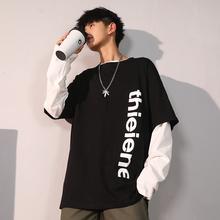 情侣装 上衣潮流 潮牌嘻哈秋季 宽松ins港风学生韩版 假两件t恤男长袖