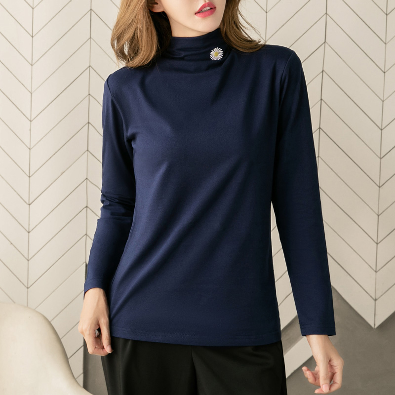 Half high collar pure cotton long sleeve T-shirt womens spring and autumn 2020 new autumn thin bottoming top ins fashion