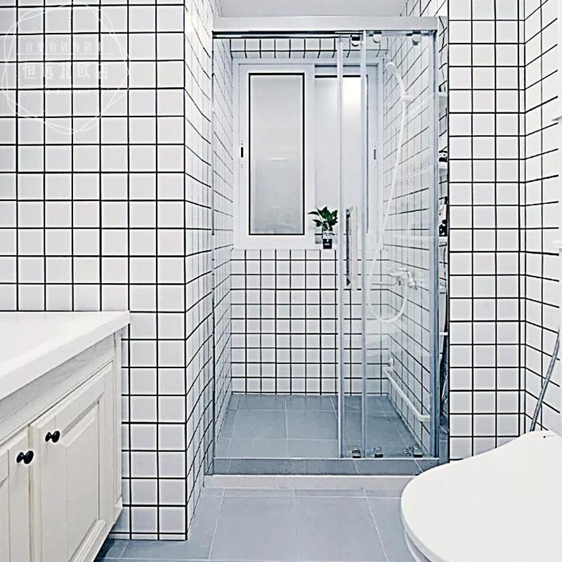 北欧面包砖300x600卫生间墙砖黑白格子小白砖纯白色厕所厨房瓷砖
