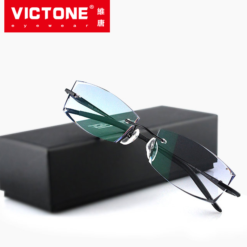 Korean cut edge glasses with myopia frame with color changing mens frameless glasses finished pure titanium inlaid with diamond M11