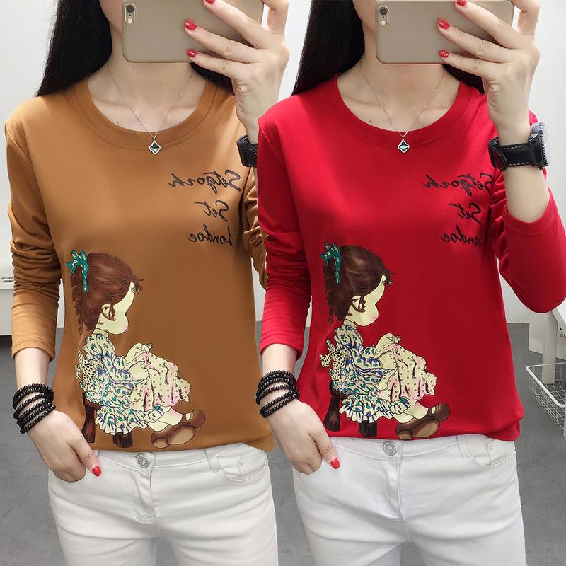 Autumn 2018 new oversized long sleeve T-shirt womens autumn Korean loose and versatile bottoming shirt fat mm upper clothes