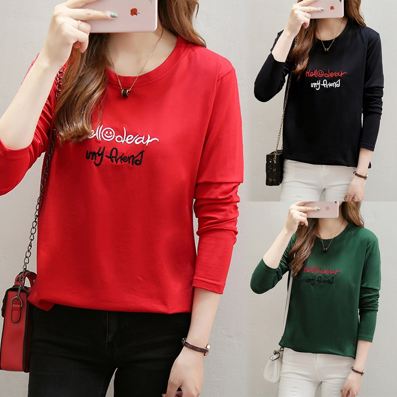 2020 spring and autumn new loose long sleeve T-shirts womens clothes large autumn clothes fashion foreign clothes small clothes fashion