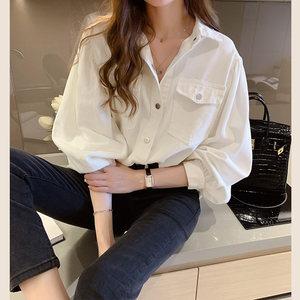 牛仔白衬衫女2020春装新款设计感小众上衣宽松百搭长袖衬衣外套潮