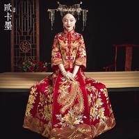 秀禾服新娘中式结婚礼服婚纱大码敬酒服新款龙凤褂出阁服嫁衣孕妇