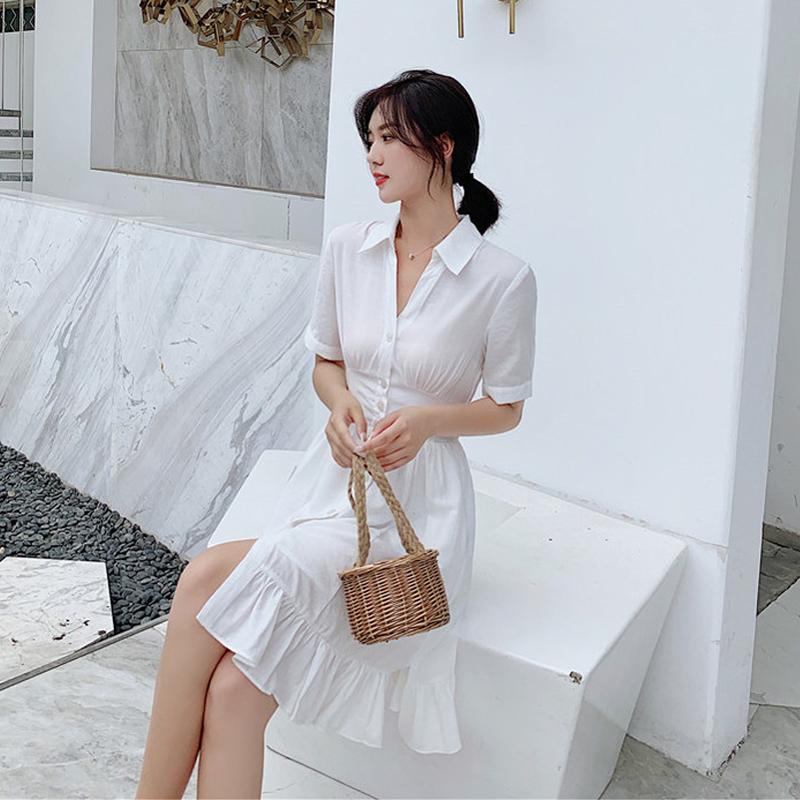 白色的连衣裙女仙修身显瘦很仙的法式小众衬衫式收腰超仙气质裙子68.00元包邮