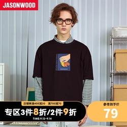Jasonwood男士t恤上衣宽松拼接纯棉潮流短袖上衣个性印花体恤
